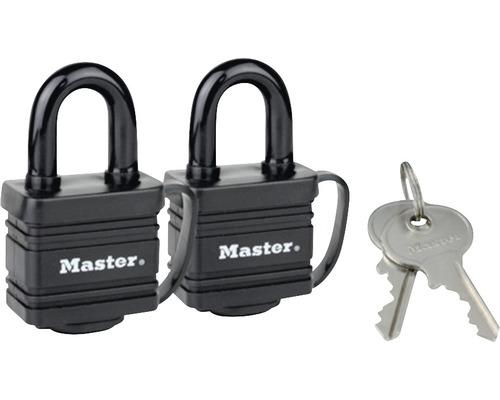 2 St. Vorhängeschloss 40 mm Masterlock 7804 EURT aus Stahl mit Stiftzuhaltung und Abdeckung, schwarz