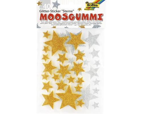 Sticker pailleté en caoutchouc cellulaire étoiles 40 pces