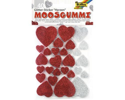 Sticker pailleté en caoutchouc cellulaire cœurs 40 pces