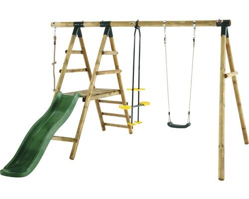 Balançoire simple plum Meerkat en bois avec bascule, corde d''escalade et toboggan vert