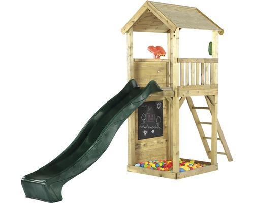 Tour de jeu plum en bois tour de guet avec longue vue, bac à sable, tableau, téléphone jeu et toboggan