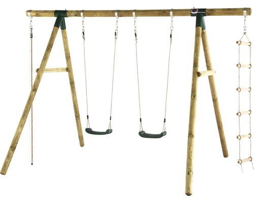 Balançoire double plum Gibbon en bois avec corde d''escalade et échelle de corde traitée en autoclave par imprégnation