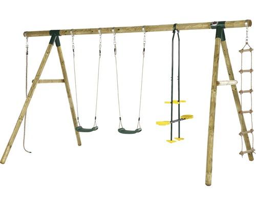 Balançoire double plum Orang-Utan en bois avec bascule, corde d''escalade et échelle de corde traitée en autoclave par imprégnation
