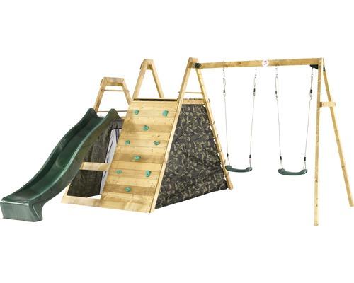 Balançoire double plum en bois pyramide avec filet d''escalade, mur d''escalade et toboggan vert