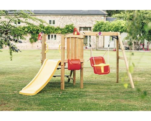 Tour de jeu plum pour petits avec balançoire bébé, boîte aux lettres, volant, cloche et toboggan jaune