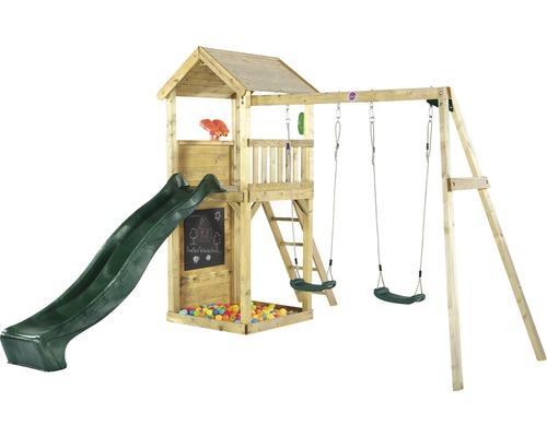 Tour de jeu plum en bois avec balançoire double, bac à sable, longue vue, téléphone, mur d''escalade et toboggan vert