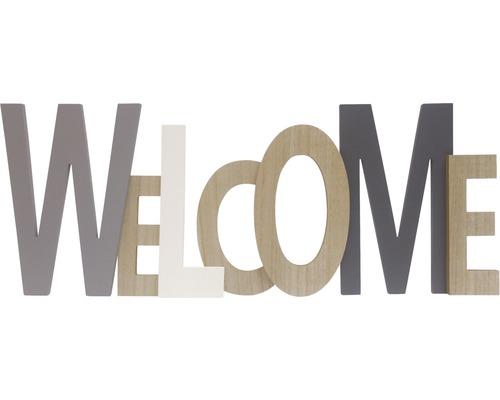 Inscription Welcome en bois gris 76x29 cm