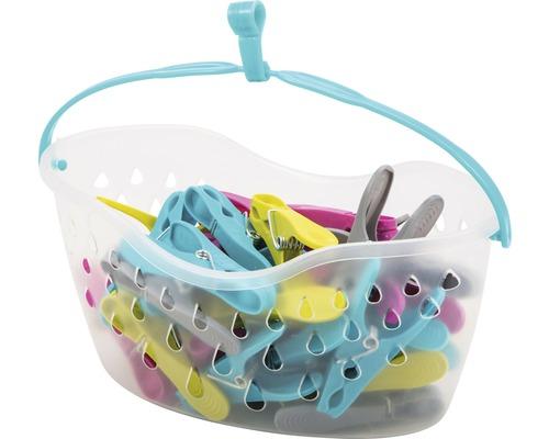 Körbchen mit 36 Wäscheklammern bunt
