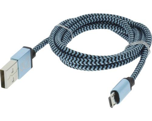 Câble de recharge et de données USB/micro USB 1m textile bleu