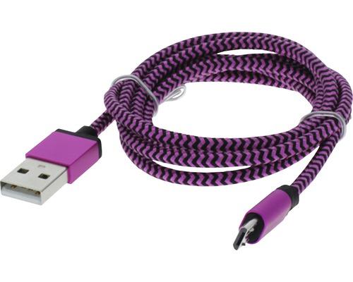 Câble de recharge et de données USB/micro USB 1m textile rose