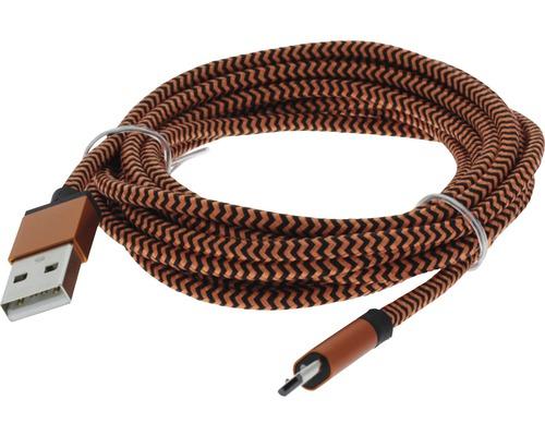 Câble de recharge et de données USB/micro USB 2,5m textile orange