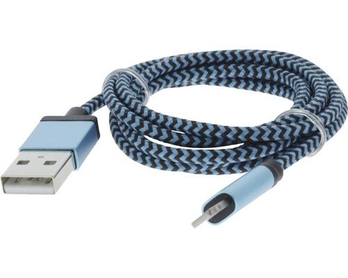 Câble de recharge et de données 8 broches / USB 100 cm textile bleu