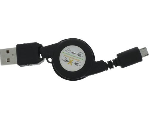Enrouleur pour câble de recharge et de données USB/micro USB 750mm noir