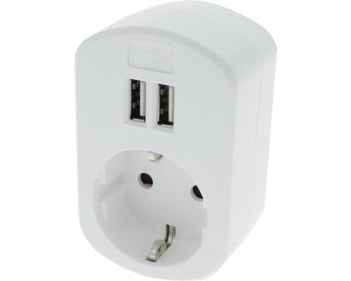 Connecteur d''adaptation USB 230V 2x USB blanc