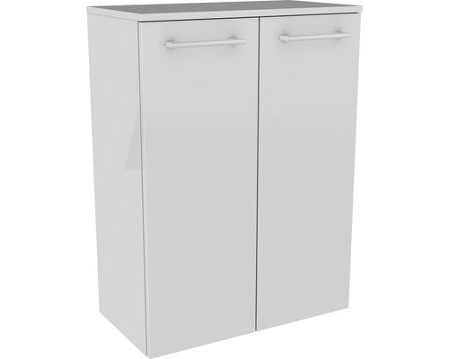 Armoire midi FACKELMANN Lino blanc hautement brillant 2 portes pivotantes 80123