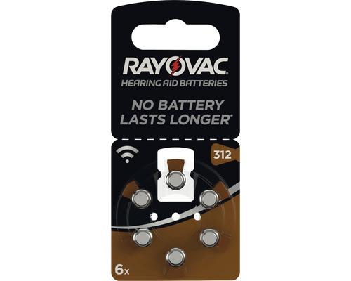Piles pour appareils auditifs Rayovac V312 Acoustic 6 pièces