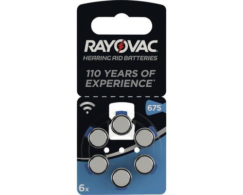 Piles pour appareils auditifs Rayovac V675 Acoustic 6 pièces