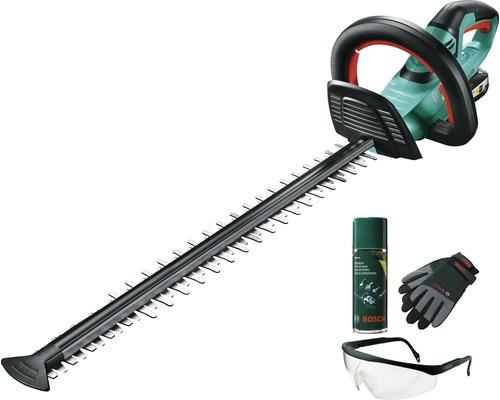 Taille-haies à batterie BOSCH AHS 55-20 Li avec gants, lunettes de protection et spray d'entretien