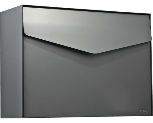 Boîte aux lettres MEFA en acier revêtu par poudre lxhxp 430x312x178 mm Letter 111 gris basalte RAL 7012 semi-mat sans porte-nom avec volet