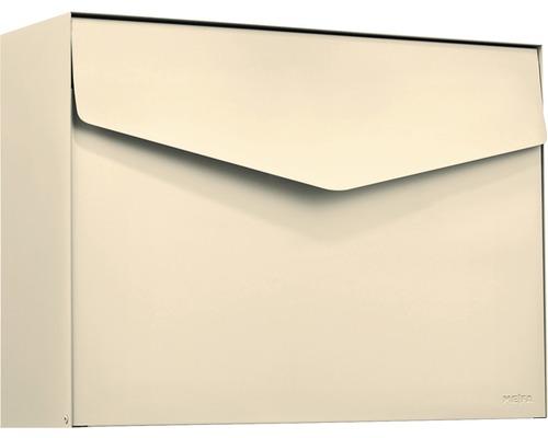 Boîte aux lettres MEFA en acier revêtu par poudre lxhxp 430x312x128 mm Letter 112 ivoire RAL 1014 semi-mat sans porte-nom avec volet
