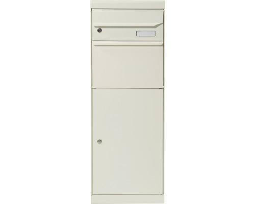 Boîte à colis MEFA tôle d''acier revêtu par poudre lxhxp 402/1091/310 mm Maple 661 blanc pur RAL 9010 semi-mat retrait par l'avant 2 niveaux avec porte-nom