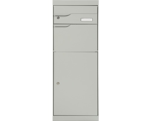 Boîte à colis MEFA en acier revêtu par poudre lxhxp 402/1094/310 mm Etna 771 aluminium blanc RAL 9006 retrait par l'avant 2 niveaux avec porte-nom