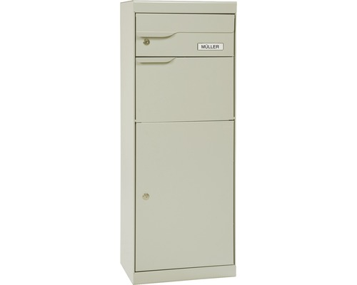 Boîte à colis MEFA en acier revêtu par poudre lxhxp 402/1094/310 mm Etna 771 blanc gris RAL 9002 retrait par l'avant 2 niveaux avec porte-nom