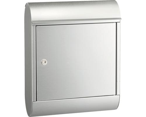 Boîte aux lettres MEFA en acier inoxydable/brossé lxhxp 340/430/150 mm Topaz 842 retrait par l''avant