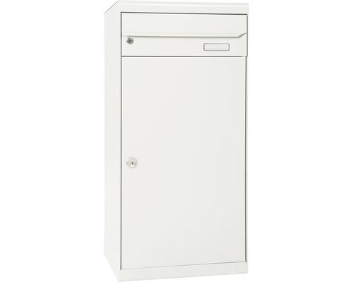 Boîte aux lettres pour colis MEFA acier revêtu par poudre lxhxp 511/1091/388mm Cedar 881 blanc pur RAL 9010 retrait par l'avant 2 niveaux avec étiquette pour nom-0