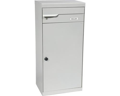 Boîte à colis MEFA en acier revêtu par poudre lxhxp 410/1030/310 mm Fuego 991 aluminium blanc RAL 9006 retrait par l'avant 2 niveaux avec porte-nom