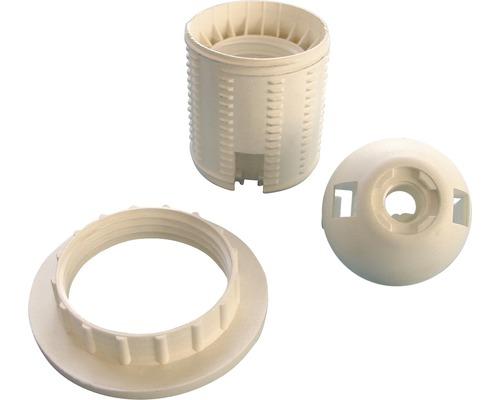 Douille plastique E27 avec filetage extérieur blanc