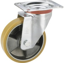 Roulette d'appareil de transport Tarrox avec jante aluminium et surface de roulement PU jusqu'à 220kg. 125x35mm, dimensions du plateau 100x85mm-thumb-0