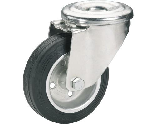Roulette pivotante Tarrox 80x25mm avec pneus pleins en caoutchouc jusqu'à 250kg