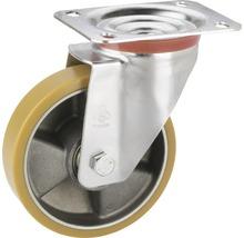 Roulette d'appareil de transport Tarrox avec jante aluminium et surface de roulement PU, jusqu'à 300kg. 140x110mm, dimensions du plateau 140x110mm-thumb-0