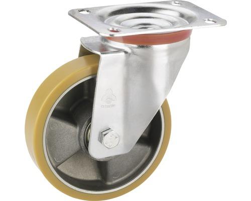 Roulette d'appareil de transport Tarrox avec jante aluminium et surface de roulement PU, jusqu'à 300kg. 140x110mm, dimensions du plateau 140x110mm-0