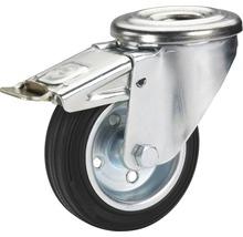 Roulette pivotante blocable Tarrox 100x30 mm avec pneus pleins en caoutchouc jusqu'à 75 kg-thumb-0