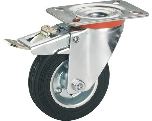 Roulette pivotante Tarrox 250x60mm avec pneus pleins en caoutchouc jusqu'à 275kg, dimensions du plateau 135x110mm-0