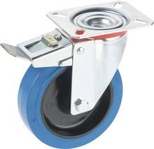 Roulette d'appareil de transport Tarrox blocable avec surface de roulement intégrale en caoutchouc élastique jusqu'à 300 kg. 160x48 mm, taille de la plaque 140x110 mm-thumb-0