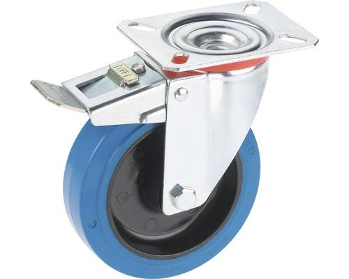 Roulette d'appareil de transport Tarrox blocable avec surface de roulement intégrale en caoutchouc élastique jusqu'à 300 kg. 160x48 mm, taille de la plaque 140x110 mm-0
