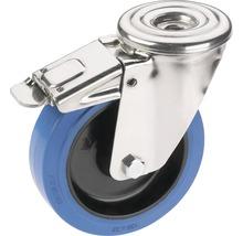 Roulette d'appareil de transport Tarrox blocable avec surface de roulement intégrale en caoutchouc élastique jusqu'à 300 kg. 160x48 mm-thumb-0