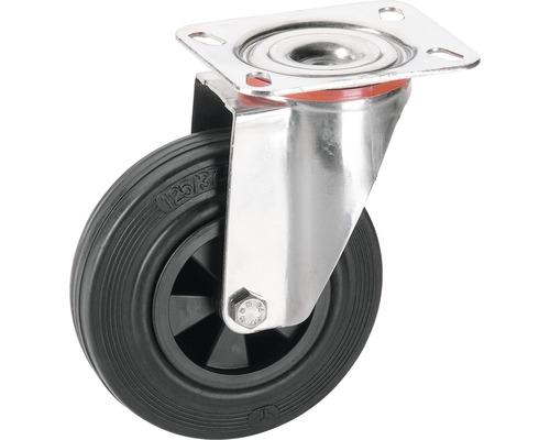 Roulette pivotante Tarrox V2A 160x40mm avec pneus pleins en caoutchouc jusqu'à 120kg, dimensions du plateau 140x80mm-0