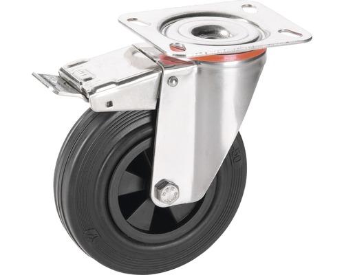 Roulette pivotante Tarrox V2A 80x30mm avec pneus pleins en caoutchouc jusqu'à 40kg, dimensions du plateau 100x85mm-0