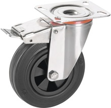 Roulette pivotante Tarrox blocable 100x30 mm avec pneus pleins en caoutchouc jusqu'à 60 kg, taille de la plaque 100x85 mm-thumb-0
