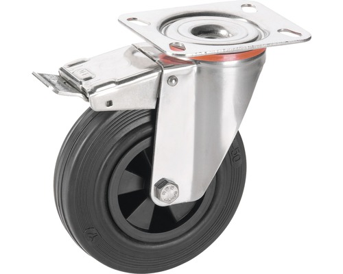 Roulette pivotante Tarrox blocable 100x30 mm avec pneus pleins en caoutchouc jusqu'à 60 kg, taille de la plaque 100x85 mm-0