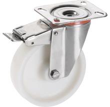 Roulette pivotante Tarrox blocable polyamide 150x40 mm jusqu''à 300 kg, taille de la plaque 140x110 mm-thumb-0