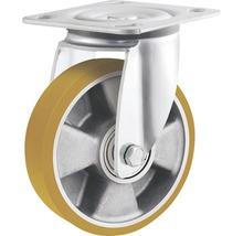 Roulette pivotante pour charges lourdes Tarrox 125x50mm avec jante alu et surface de roulement PU jusqu'à 450kg, dimensions du plateau 100x85mm-thumb-0