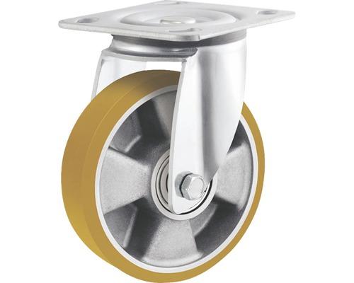 Roulette pivotante pour charges lourdes Tarrox 125x50mm avec jante alu et surface de roulement PU jusqu'à 450kg, dimensions du plateau 100x85mm-0