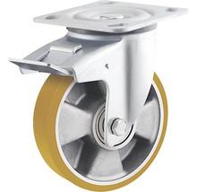 Roulette pivotante pour charges lourdes Tarrox ECO 125x50mm avec jante alu et surface de roulement PU jusqu'à 450kg, dimensions du plateau 100x85mm-thumb-0