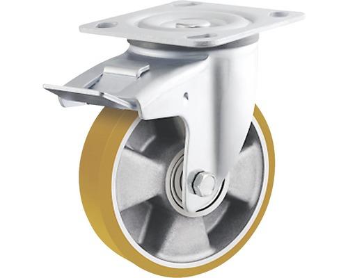 Roulette pivotante pour charges lourdes Tarrox ECO 125x50mm avec jante alu et surface de roulement PU jusqu'à 450kg, dimensions du plateau 100x85mm-0