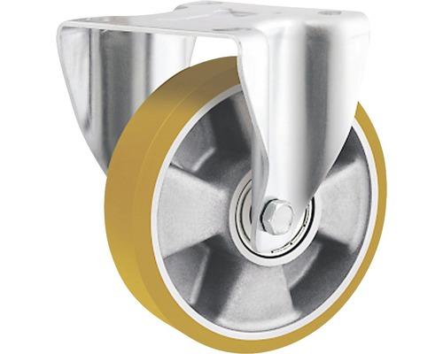 Roulette fixe pour charges lourdes Tarrox ECO avec jante aluminium et surface de roulement PU 200x50mm, jusqu'à 700kg, dimensions du plateau 137x105mm-0